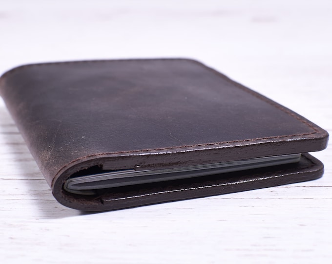 Dark brown Leather passport cover. Travel gift.