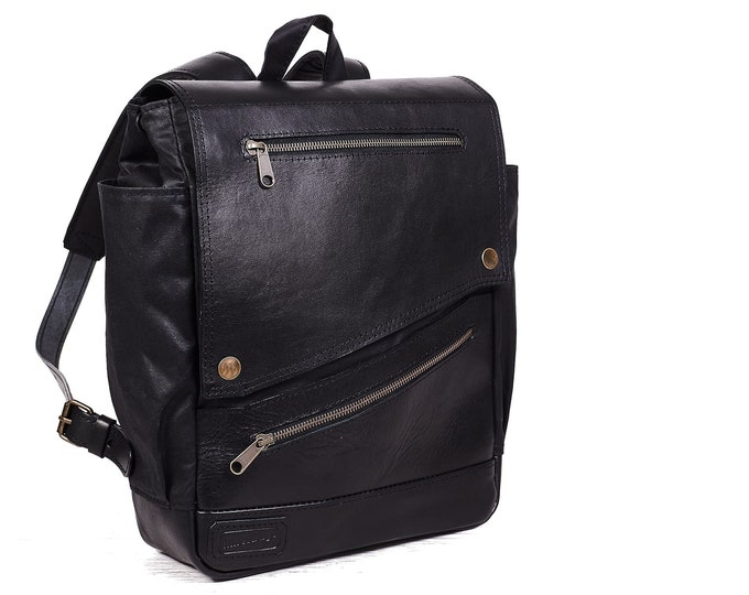 Black wax canvas leather backpack.