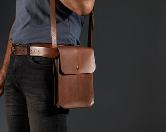Small leather crossbody bag for tablet.