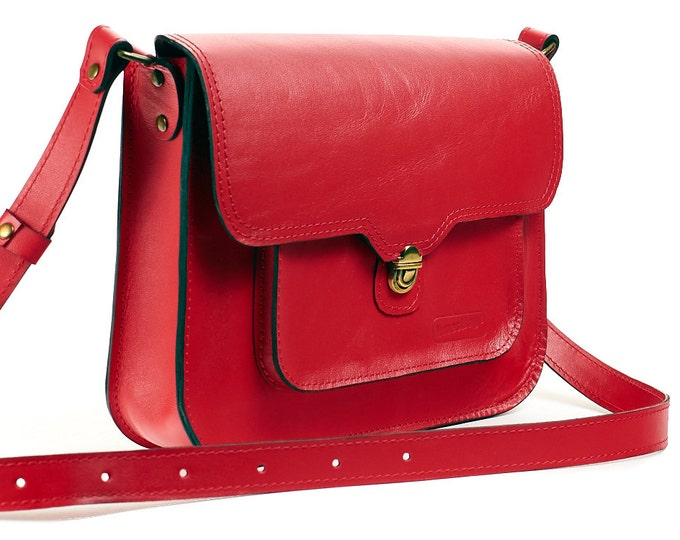 Red leather messenger bag. Leather crossbody bag. Leather satchel bag. Red leather bag.  Satchel women.