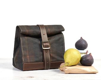 Tartan waxed cotton lunch bag. School Lunch box.