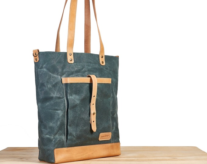 Waxed canvas tote. Green canvas leather tote bag.  Green canvas bag. Womens / Mens canvas bag.