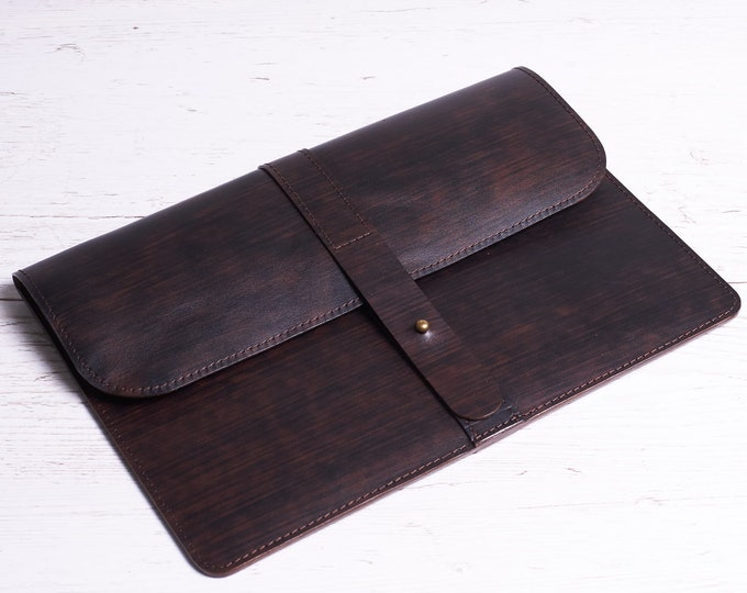 Dark brown leather case for MacBook 12 / MacBook Air 11. Gift for her/him