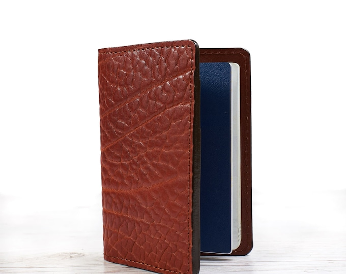 Leather passport holder. Personalized gift.