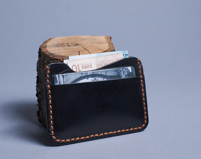 Black leather card holder. Two slot leather card holder for men. Slim wallet