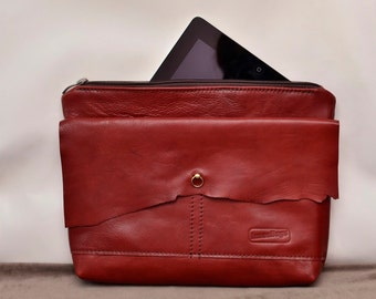 Wine leather clutch bag /  Raw Edge Leather Bag / Burgundy leather purse / Women purse