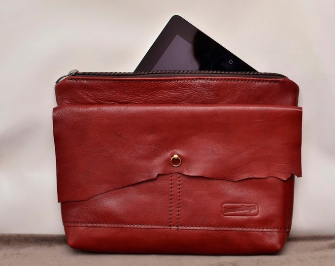 Wine leather clutch bag /  Raw Edge Leather Bag / Burgundy leather purse / Women purse