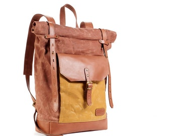 Waxed canvas backpack. Cappuccino backpack.