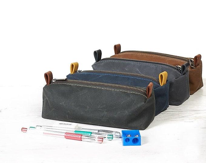 Fabric pen case. Waxed canvas Pencil case.