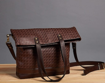 Leather foldover bag. Leather handbag. Dark brown crossbody bag. Leather shoulder bag. Crossbody leather bag.