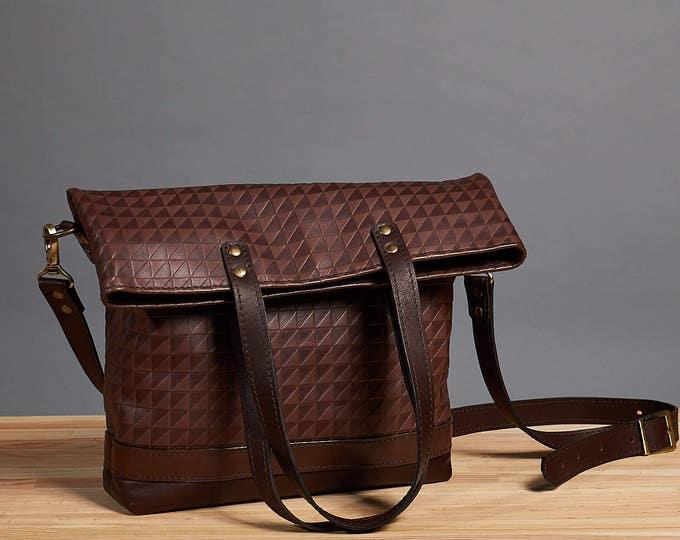 Leather foldover bag. Leather handbag. Dark brown crossbody bag. Leather shoulder bag. Crossbody leather bag.