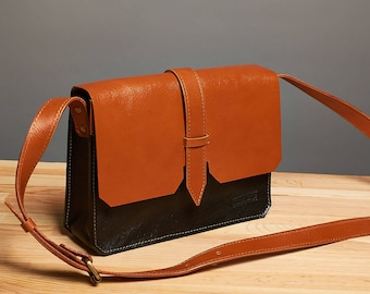 Leather crossbody bag / Orange black leather messenger bag / Leather shoulder bag / leather bag
