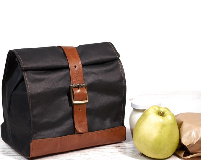 Black lunch bag. Lunch box. Waxed canvas and leather lunch bag. Black/brown lunch bag. School lunch bag.