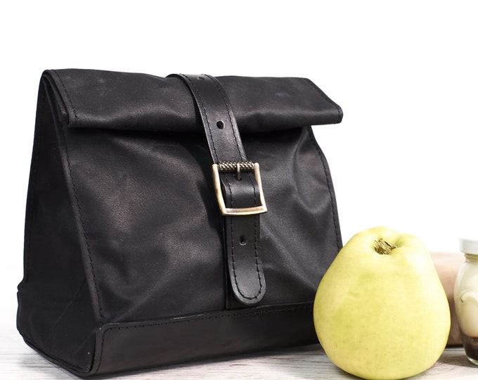 Black lunch bag. Lunch box. Waxed canvas and  leather lunch bag. School lunch bag.