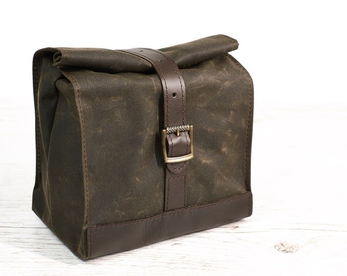 Dark olive lunch bag. Lunch box. School lunch bag, Waxed canvas and leather lunch bag.