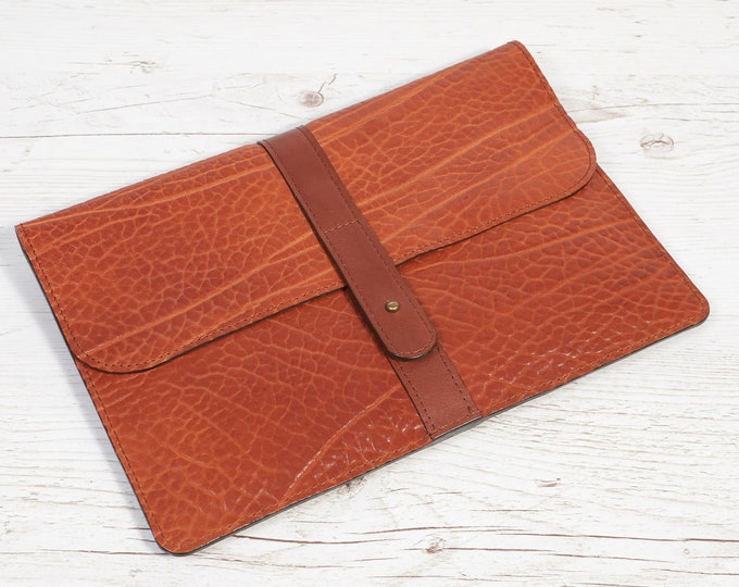 MacBook 12 leather case. Orange soft leather portfolio.