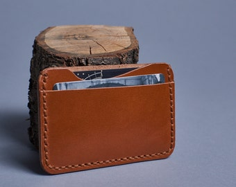 Brown Leather card holder / Leather card case - Minimalist Wallet - Slim Wallet - Card Wallet  - Small Wallet