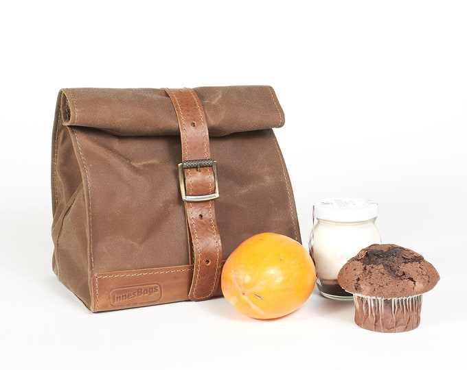 Brown waxed canvas lunch bag with leather handle