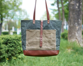 Green & brown waxed canvas tote bag.
