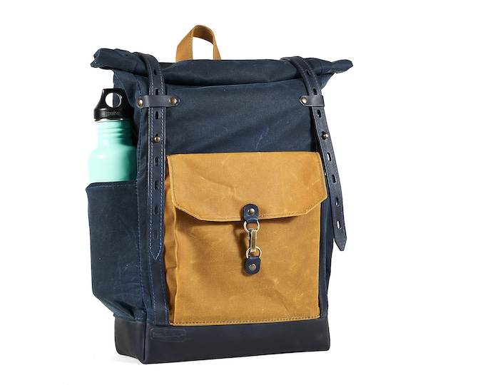 Roll top waxed canvas leather backpack in Navy blue Yellow