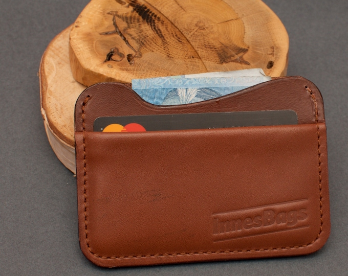 Credit card holder. Leather slim wallet. Two slot wallet.  Brown leather wallet.