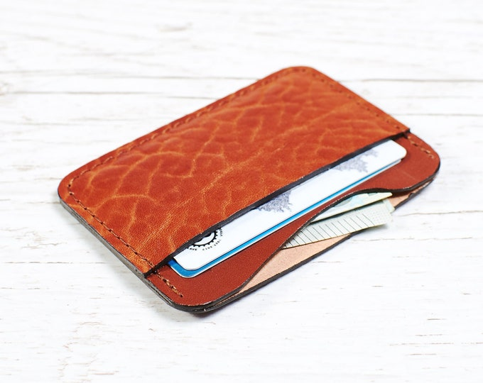 Orange Leather card holder - Slim Wallet