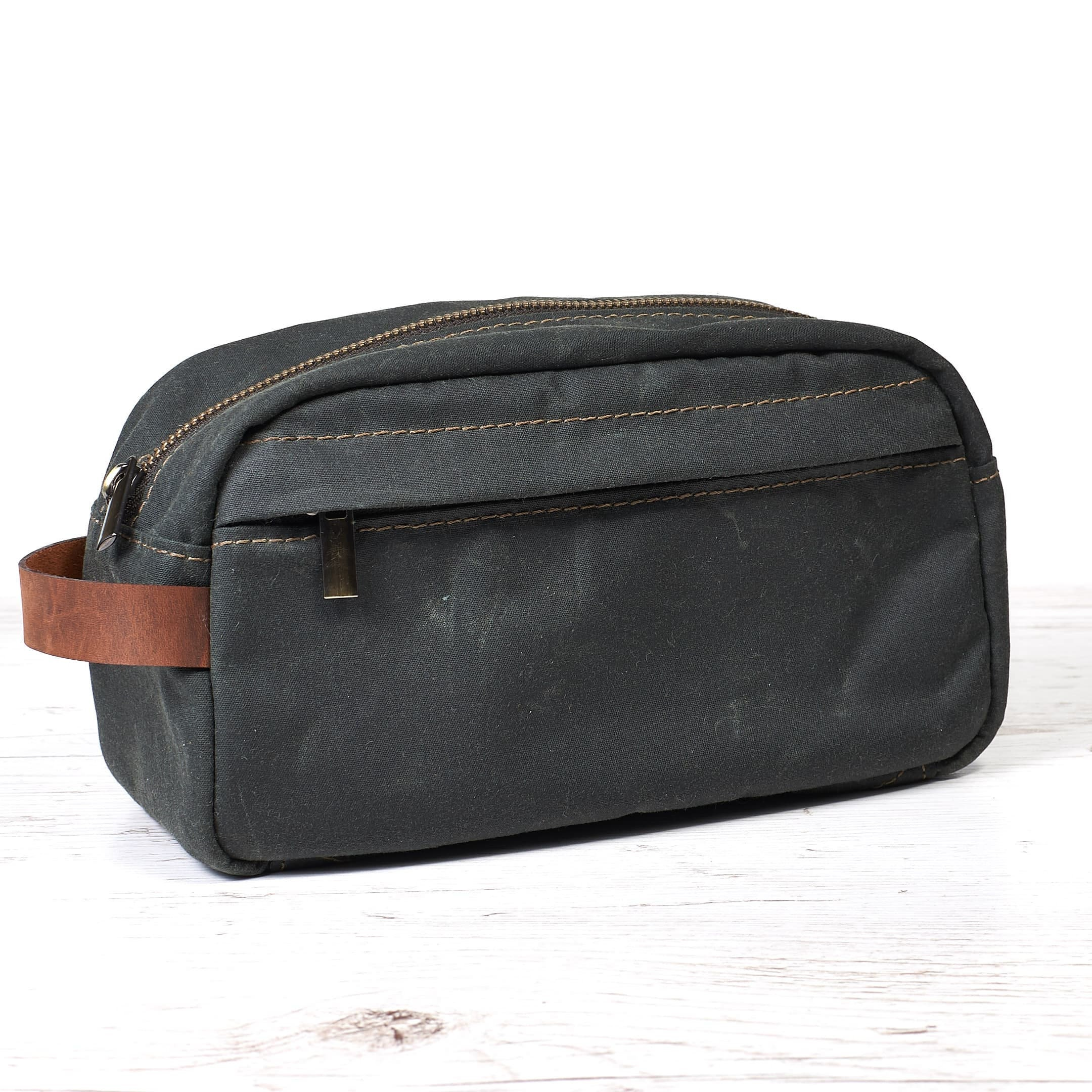 a90768cce1 Waxed canvas dopp kit. Travel accessories.