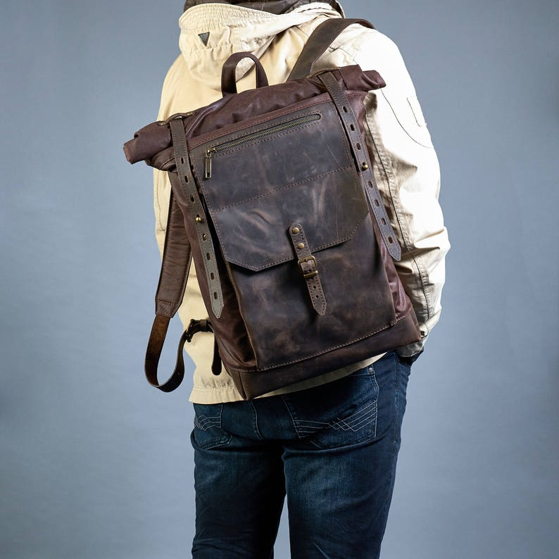 62344b9252b2 Canvas backpack men. Dark Brown waxed canvas leather backpack.