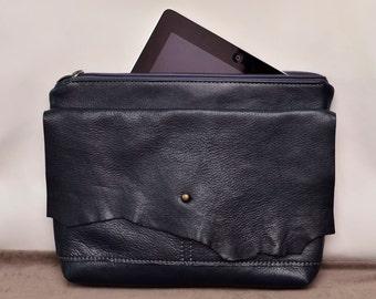 Navy blue leather clutch bag /  Raw Edge Leather Bag / Burgundy leather purse / Women purse