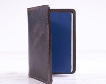 Dark brown leather passport cover. Passport holder. Travel case. Personalized travel gift.