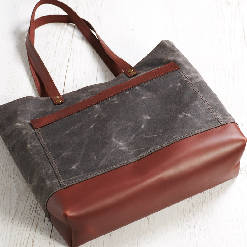 Brown canvas bag Waxed tote bag Women canvas bag Men canvas tote  Personalized gift Wax canvas tote bag with leather handles