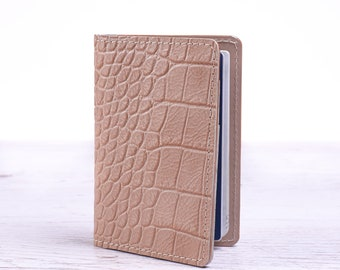 Beige passport cover. Travel pass holder. Leather passport cover. Personalized travel gift.