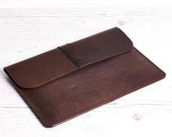 Leather sleeve for MacBook Air 11. Macbook 12 leather case. Dark brown crazy horse leather. Gift for her/him