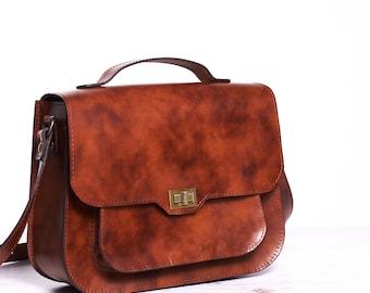 Brown leather shoulder bag. Leather crossbody bag. Leather satchel bag.