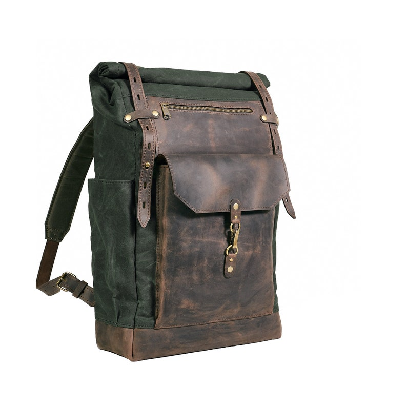 Waxed canvas leather backpack. Mens Rolltop backpack in deep  355129a34370f