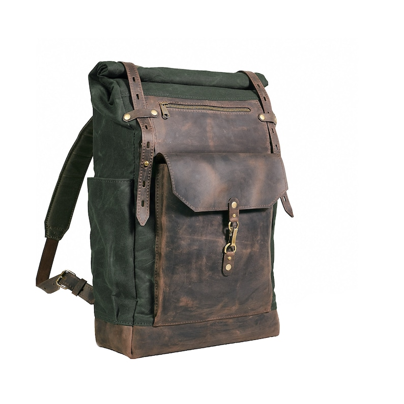 63a8397eee2 Waxed canvas leather backpack. Mens Rolltop backpack in deep
