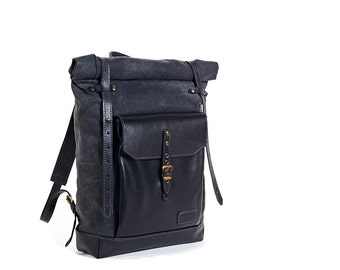 Waxed canvas leather roll-top backpack mens. Dark grey waxed canvas, black leather.