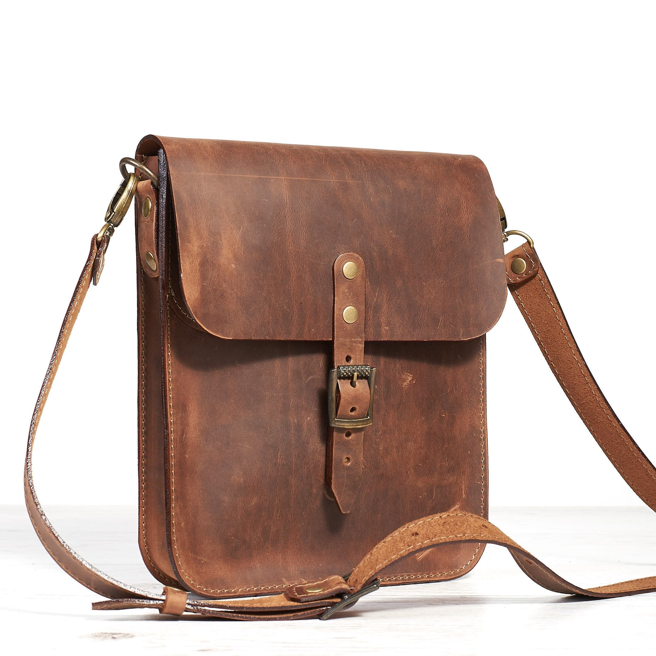 small leather crossbody bag for tablet cognak crazy horse leather