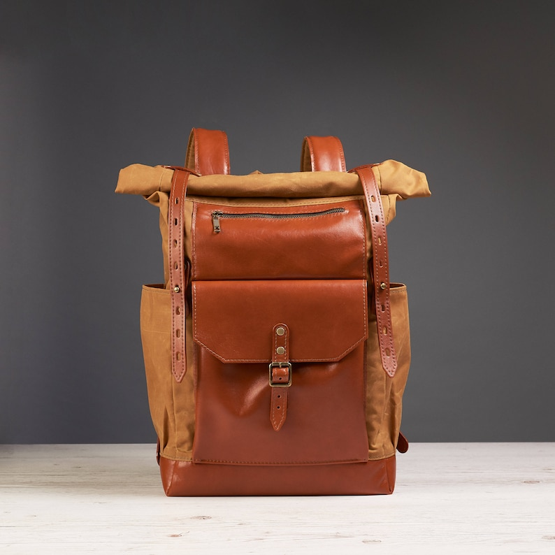 Yellow waxed canvas leather backpack. Roll top canvas leather  aa82fcb170b4e