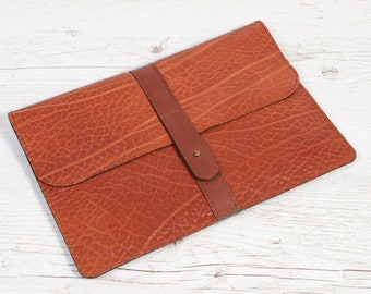 MacBook 12 leather case. Orange soft leather portfolio.