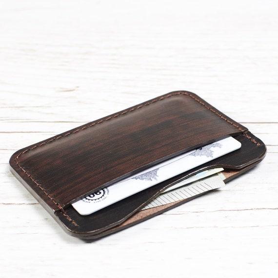 3a30ef91b23dfe Dark Brown Leather card holder / Leather card case | Etsy