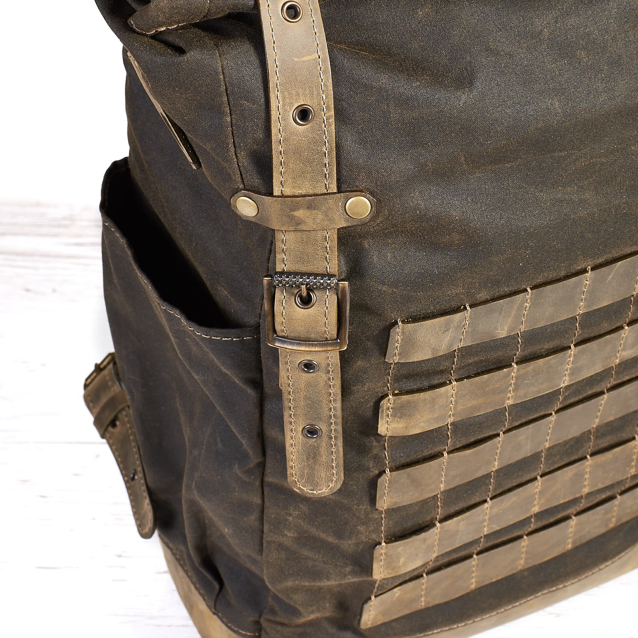 Dark Olive Waxed Canvas Leather Backpack With Molle Grid