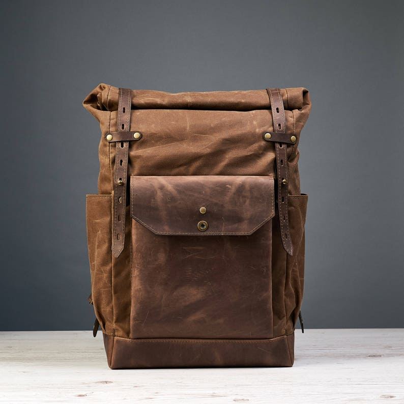 Waxed canvas backpack mens Roll top waxed canvas leather  fbd60090eb7e3
