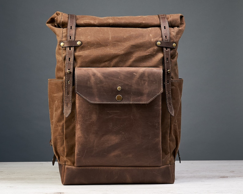0350799e15a72 Waxed canvas backpack mens Roll top waxed canvas leather