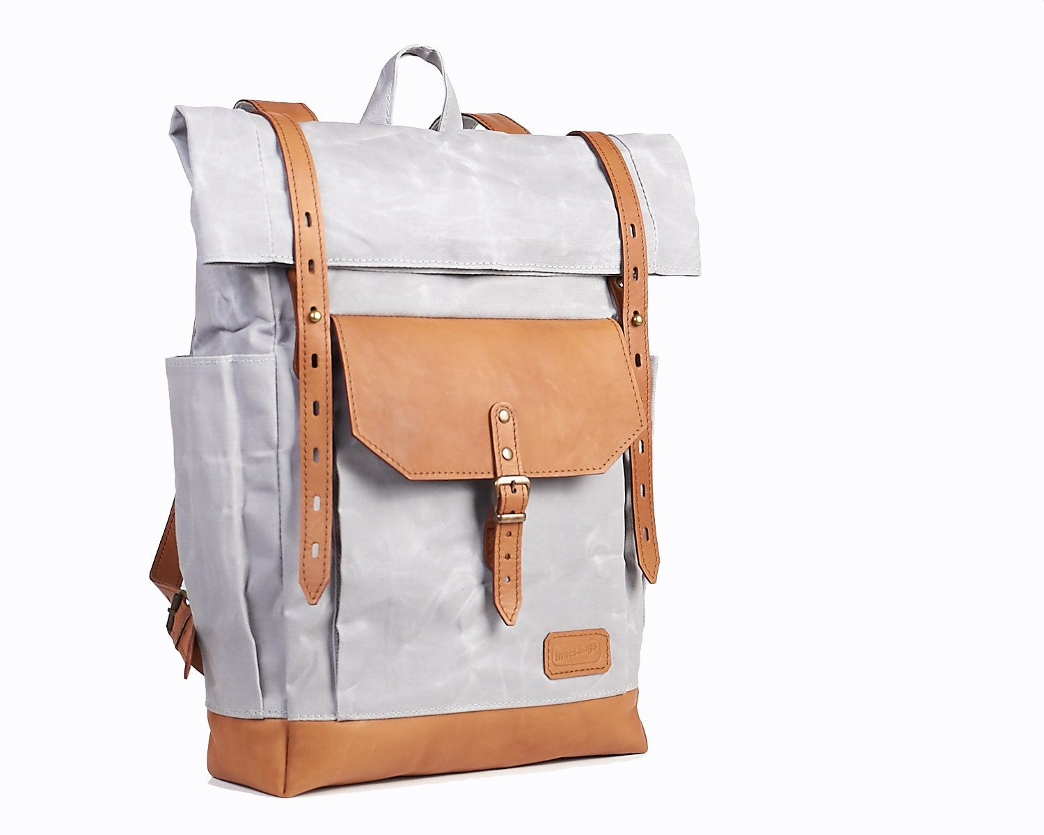 Waxed Canvas Backpack Roll Top Canvas Leather Backpack For