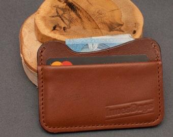 Credit card holder. Leather slim wallet. Two slot wallet.  Brown leather wallet.