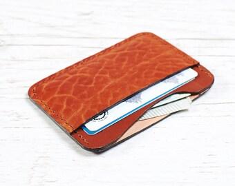 Orange Leather card holder - Slim Wallet
