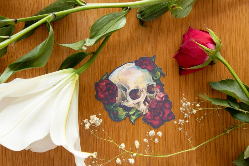Jumbo Skull and Roses Stickers image 0