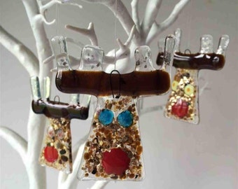 rudolf face | handmade christmas decoration | fused glass | christmas gift