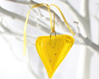 yellow little love | fused glass heart | handmade by Katie Lynn| hanging decoration |  birthday gift | mother day
